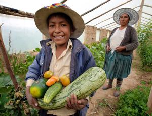 Bolivian locals Ruben [L] and Joselyn