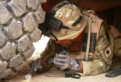 Major Karl Frankland, a trustee of the Felix Fund, on duty in Afghanistan