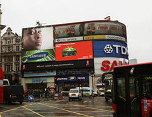 The Samsung-supported Breakthrough Breast Cancer ad in Piccadilly Circus