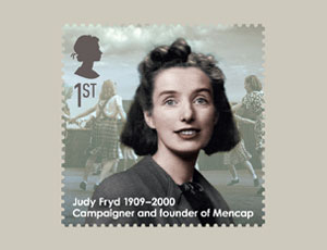 Mencap founder Judy Fryd on Royal Mail first class stamp from Eminent Britons series