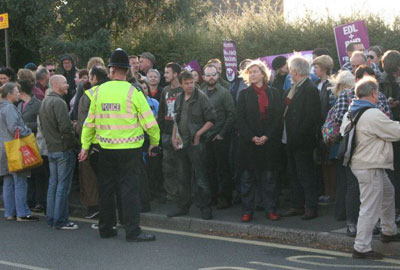 Members of the public protested against the BNP meeting