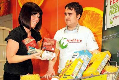 Customers donate food items