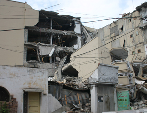 Destruction caused after an earthquake