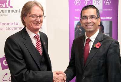 Paul Stallard [l] with Mehboob Khan