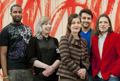 Jane Hamlyn (centre) with Turner Prize winner Jeremy Deller (right)