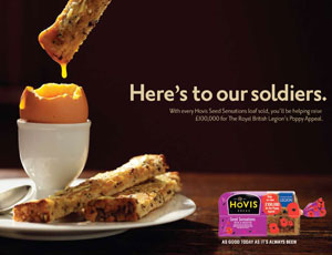 The double meaning of 'soldier' was used to good effect on the Hovis branding for the legion
