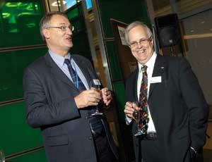 George Hepburn, chief executive of CFTW (right) shares a joke with voluntary sector consultant David Carrington at the awards