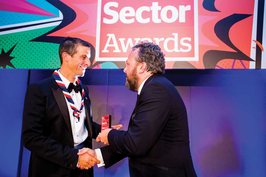 Bear Grylls (left) with Awards host Hal Cruttenden