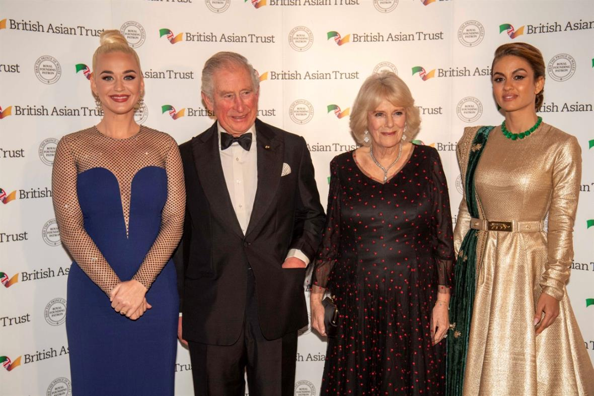 Katy Perry (left) with the Prince of Wales, the Duchess of Cornwall and the philanthropist and businesswoman Natasha Poonawalla