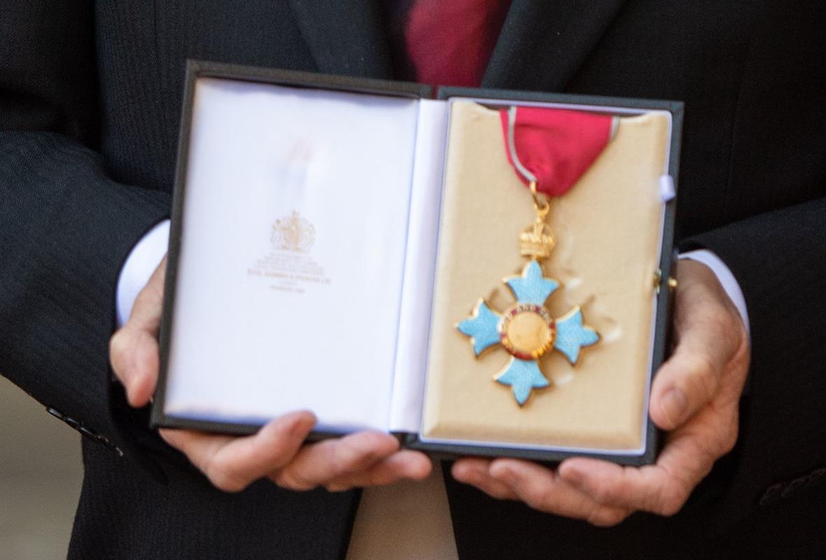 A CBE medal (Photograph: Dominic Lipinski-WPA Pool/Getty Images)