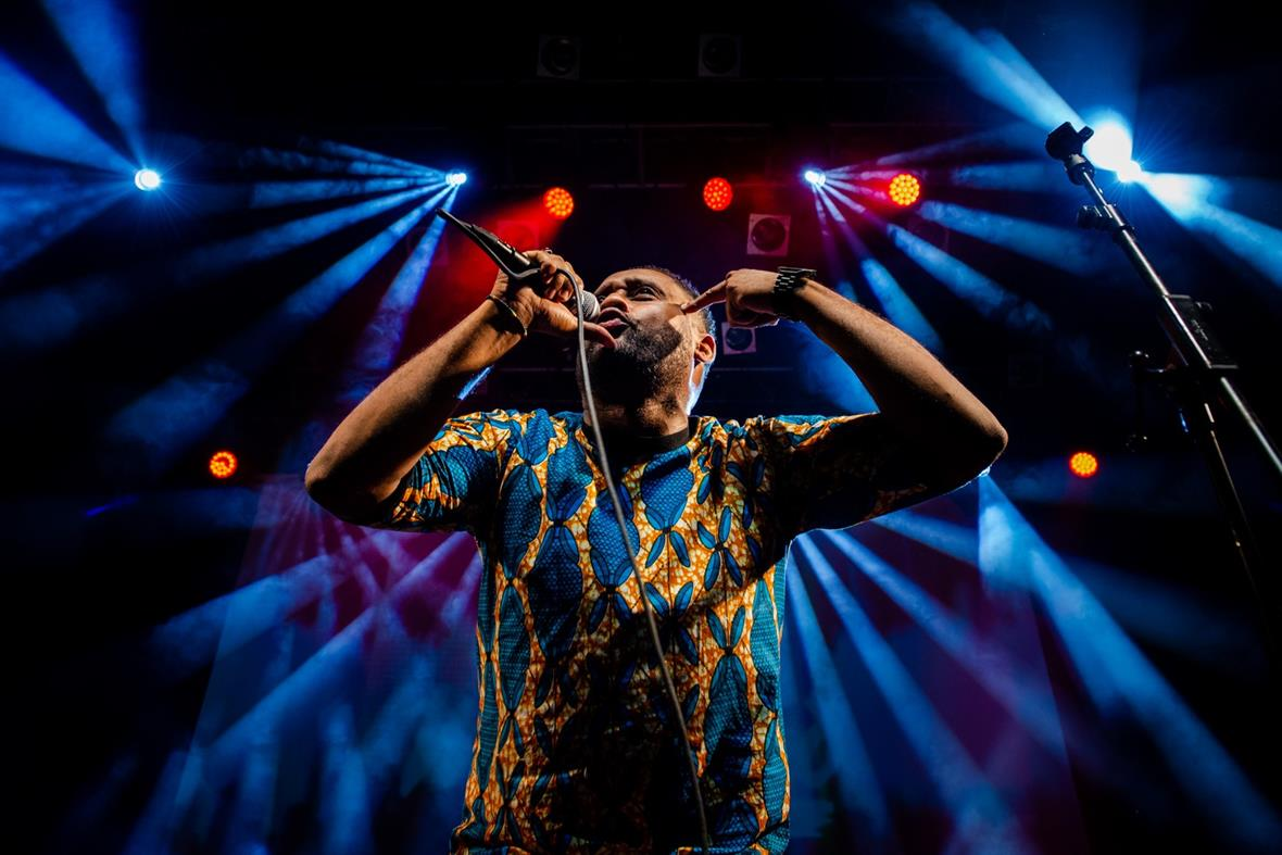 Mohammed Yahya of Native Sun performing at Koko London, Refugee Week 2018, for Counterpoints Arts (Photograph: José Farinha)