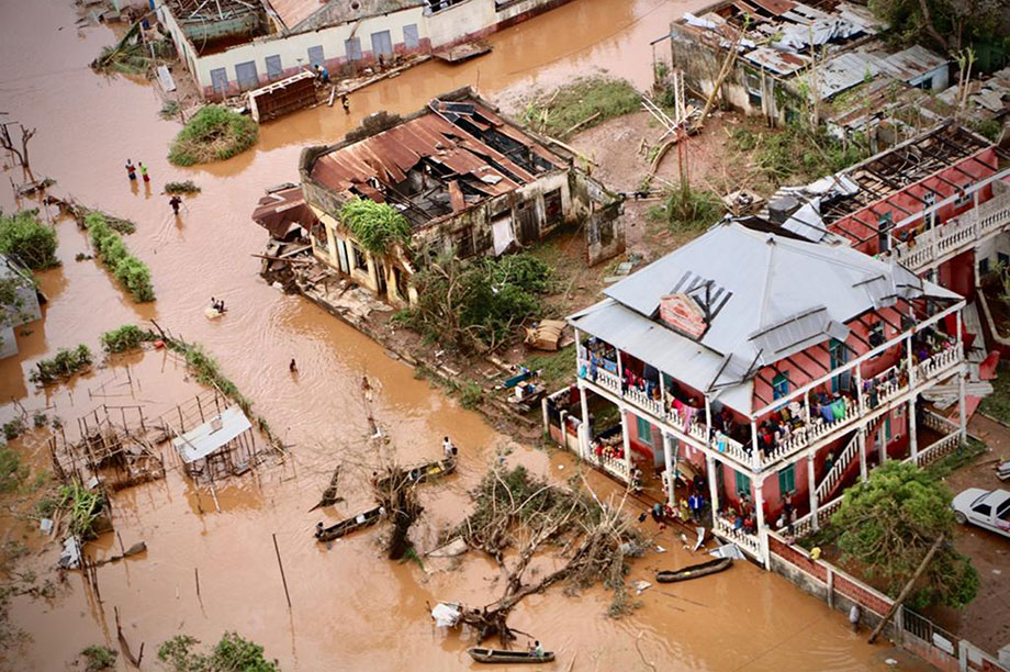 Heavy flooding in Mozambique caused by the cyclone (Photograph: Adrien Barbier/AFP/Getty Images)