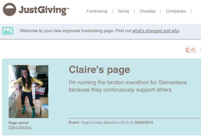 Claire Squires' JustGiving page
