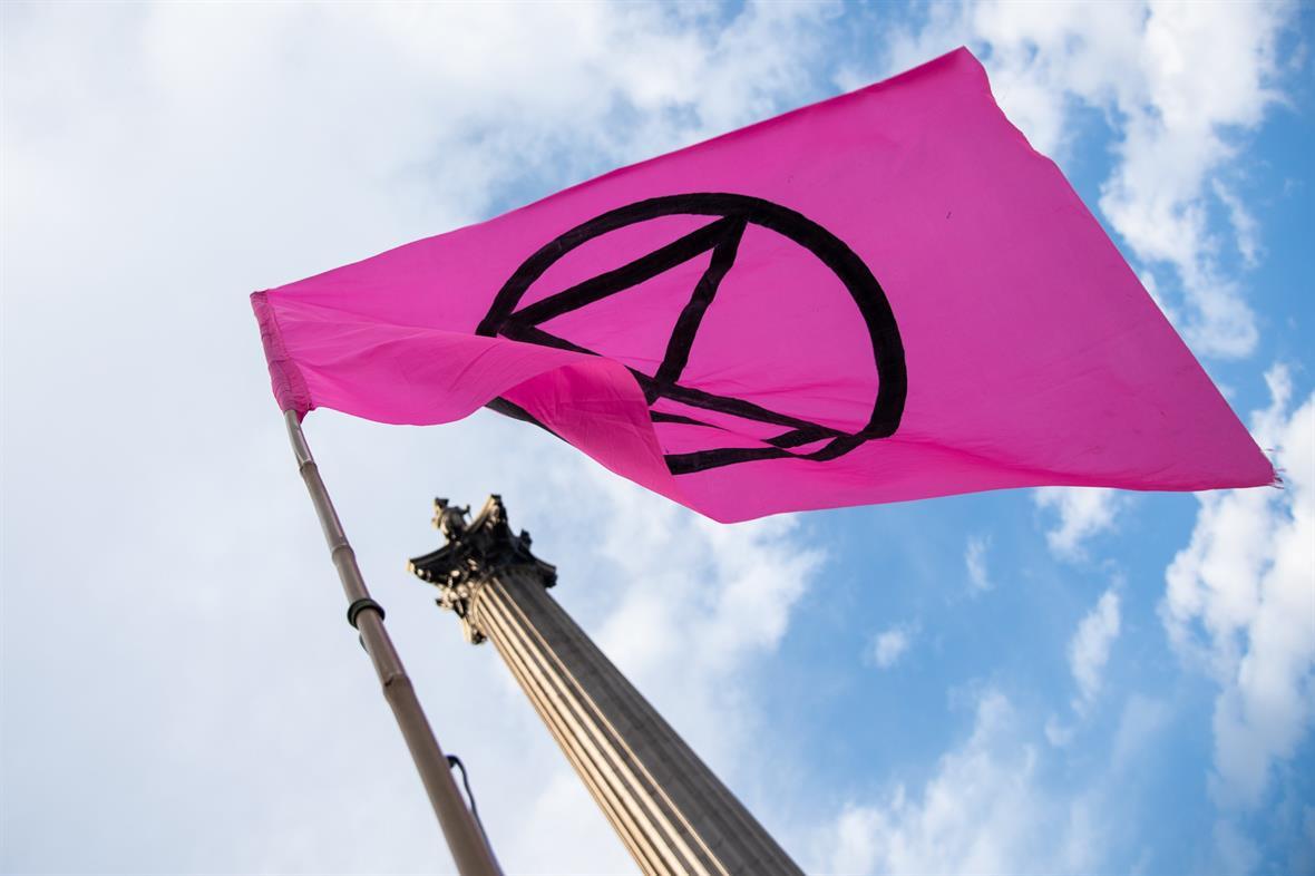 Extinction Rebellion flag (Photograph: Raquel Natalicchio)