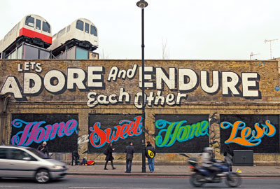 Graffitt: Ben Eine painted a wall in east London in support of Shelter's campaign