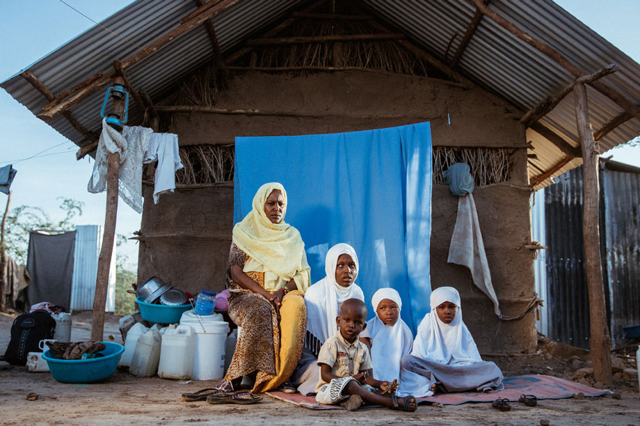 Amina Noor Bralle (left) from Somalia with her family
