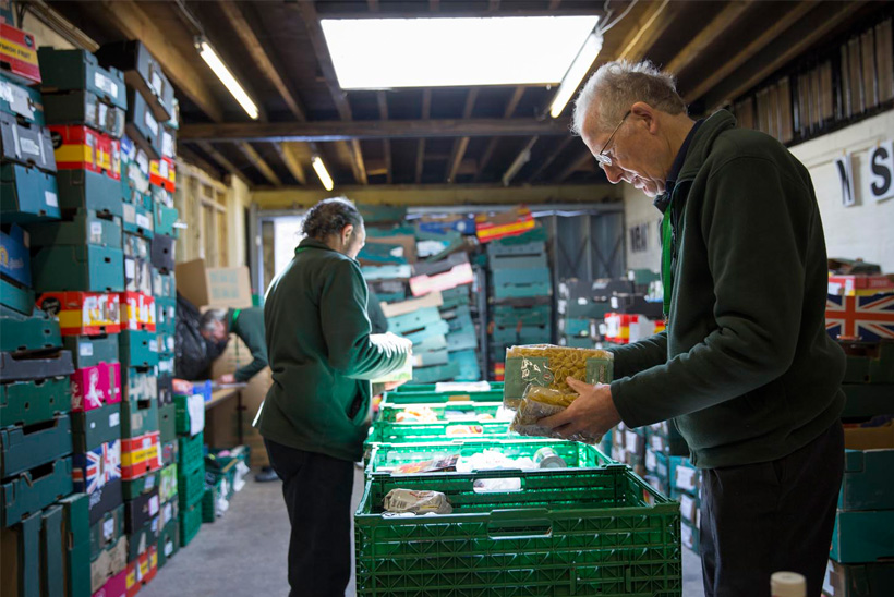 Volunteers sorting food at one of The Trussell Trust's foodbank warehouses