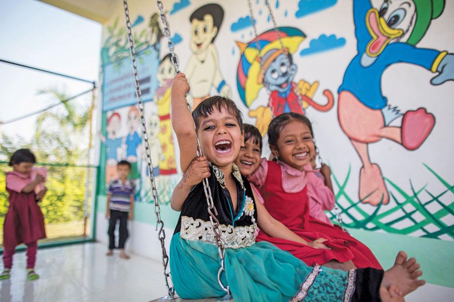 Children playing at Anganwadi centre in Aurangabad, India