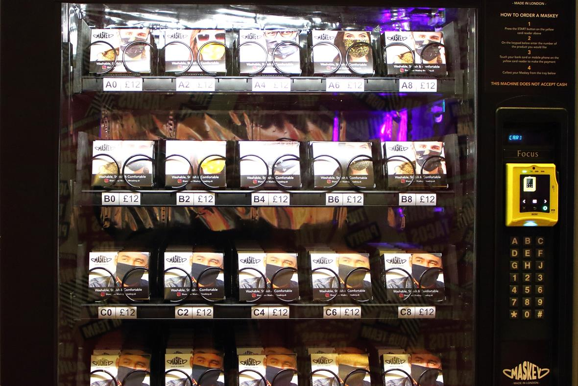 Profits from this facemask vending machine go to the charity Lenderhand, which supports the NHS. SOPA/Getty
