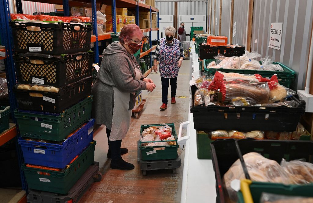 Volunteers at Blackpool Food Bank. (Photo by PAUL ELLIS/AFP via Getty Images)