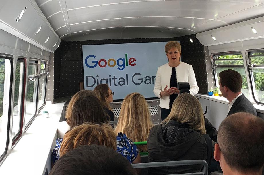 Nicola Sturgeon in the Google Digital Garage Bus