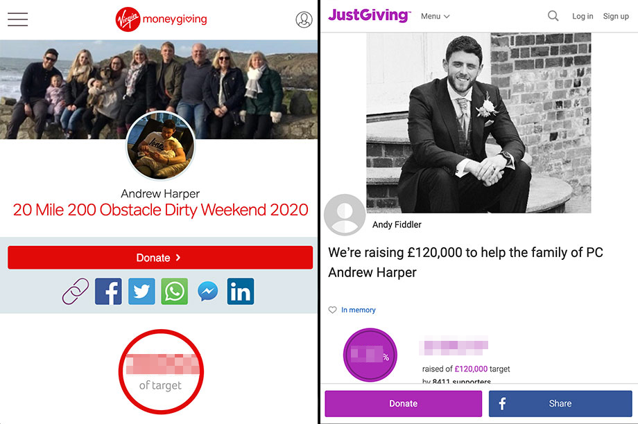 The fundraising pages for PC Harper