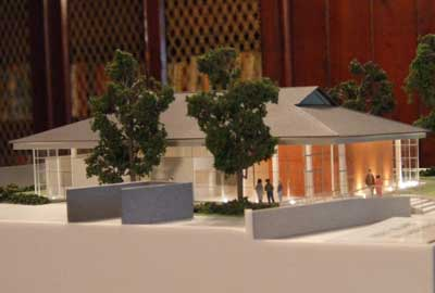A model of the village hall in Lindisfarne