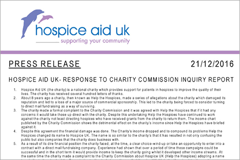 The charity's response