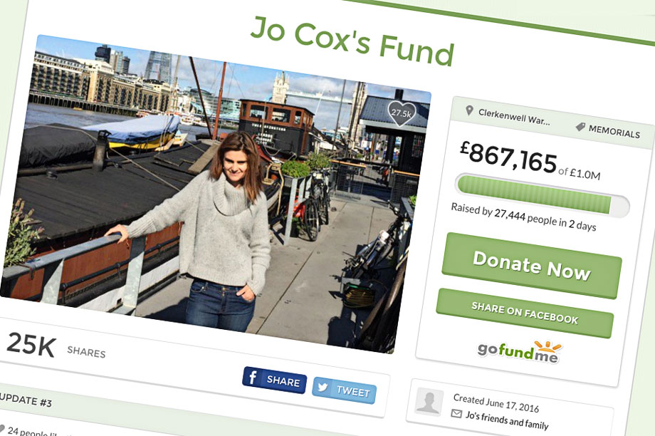 The Jo Cox fundraising page