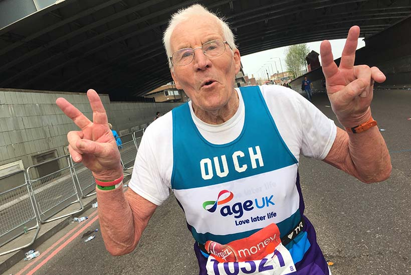 John Starbrook, the oldest participant in the 2018 London Marathon, running for Age UK.