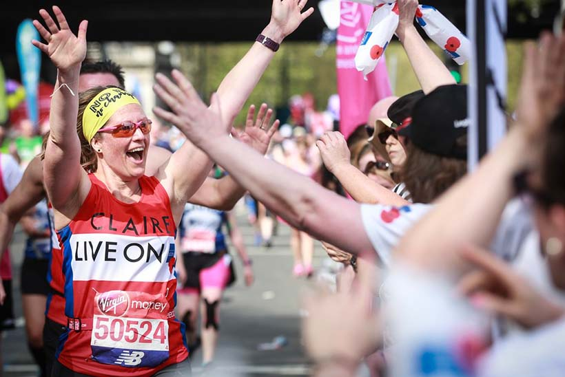Claire Rowcliffe, director of fundraising, running the London Marathon for the Royal British Legion