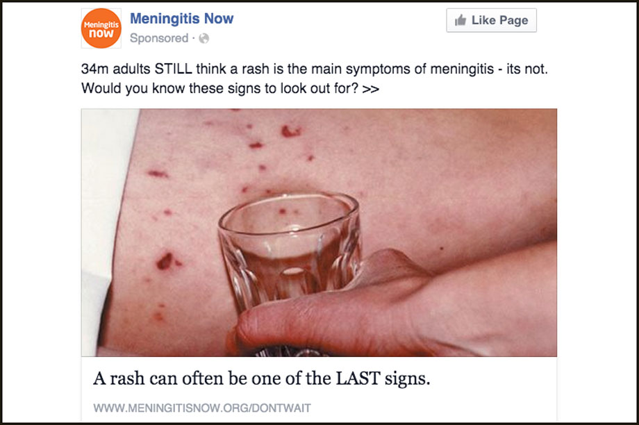 Meningitis Now advert banned by Facebook