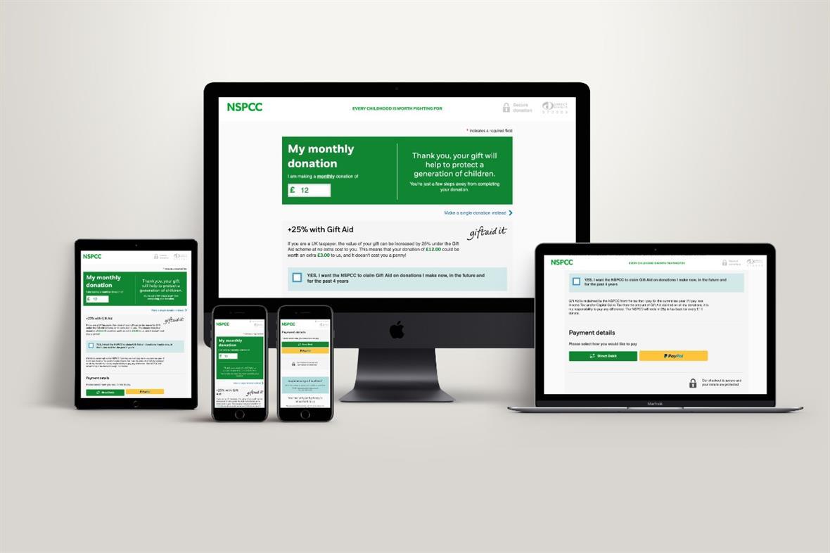 NSPCC's digital wallet on various platforms