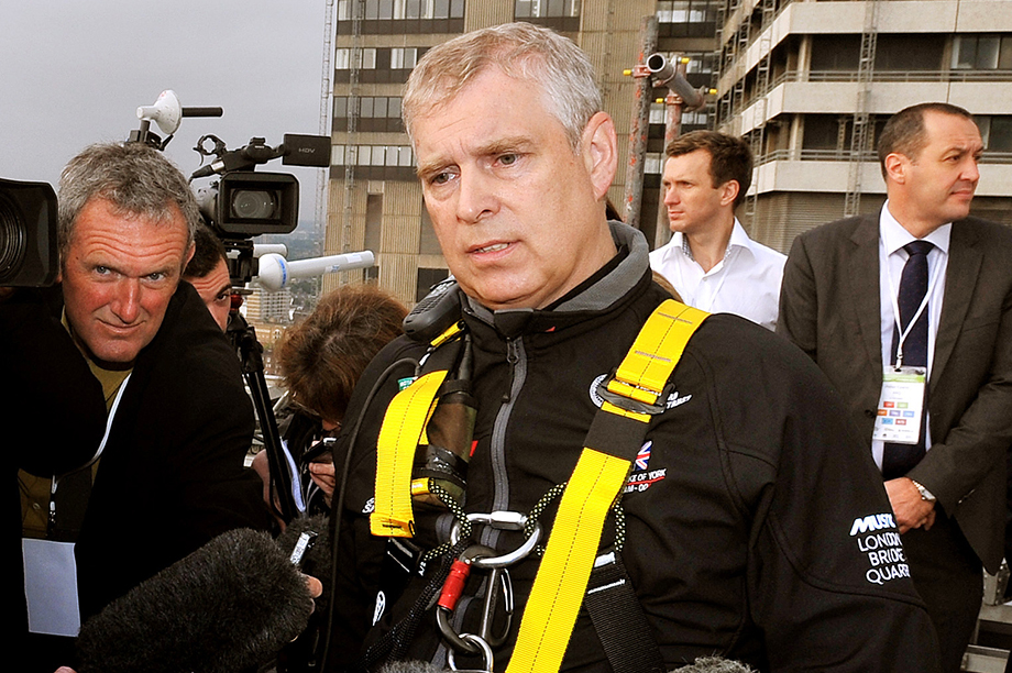 Prince Andrew abseiled down the Shard in 2012 to raise money for the trust (Photograph: John Stillwell – WPA Pool/Getty Images)