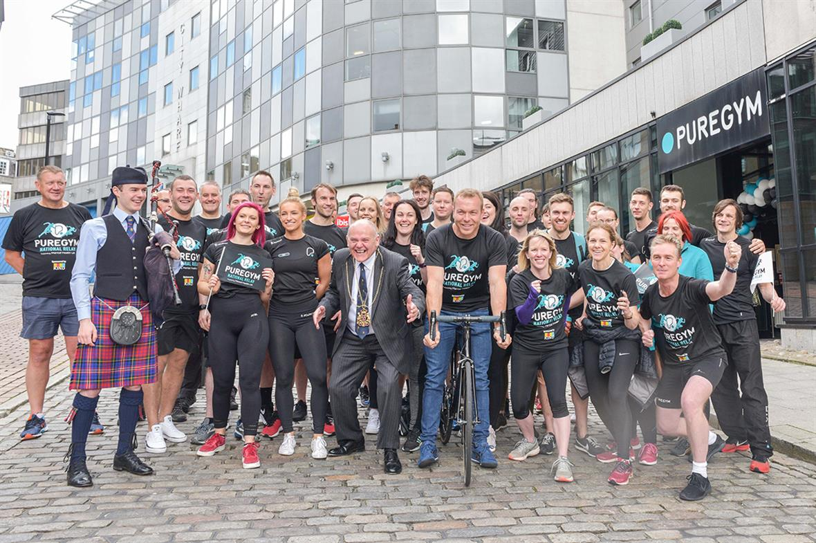 Pure Gym National Relay: joined by Chris Hoy, on bicycle