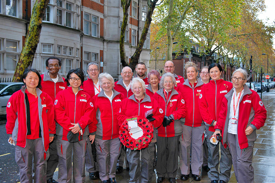Representatives of the British Red Cross at the Cenotaph yesterday