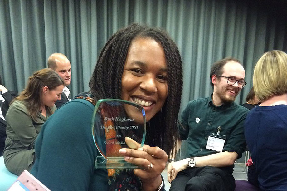 Ruth Ibeguna with her award (image courtesy of Reclaim)