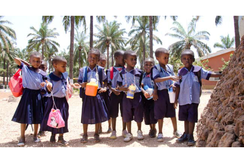 SOS Children's Villages project in Guinea: children going to school