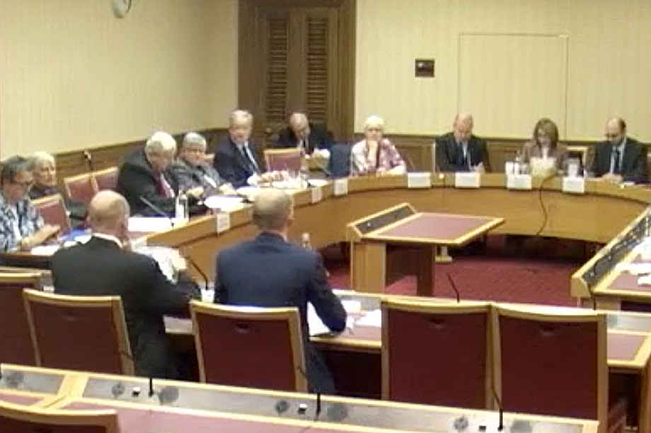 Light (left, with back to camera) and Hurford at the select committee