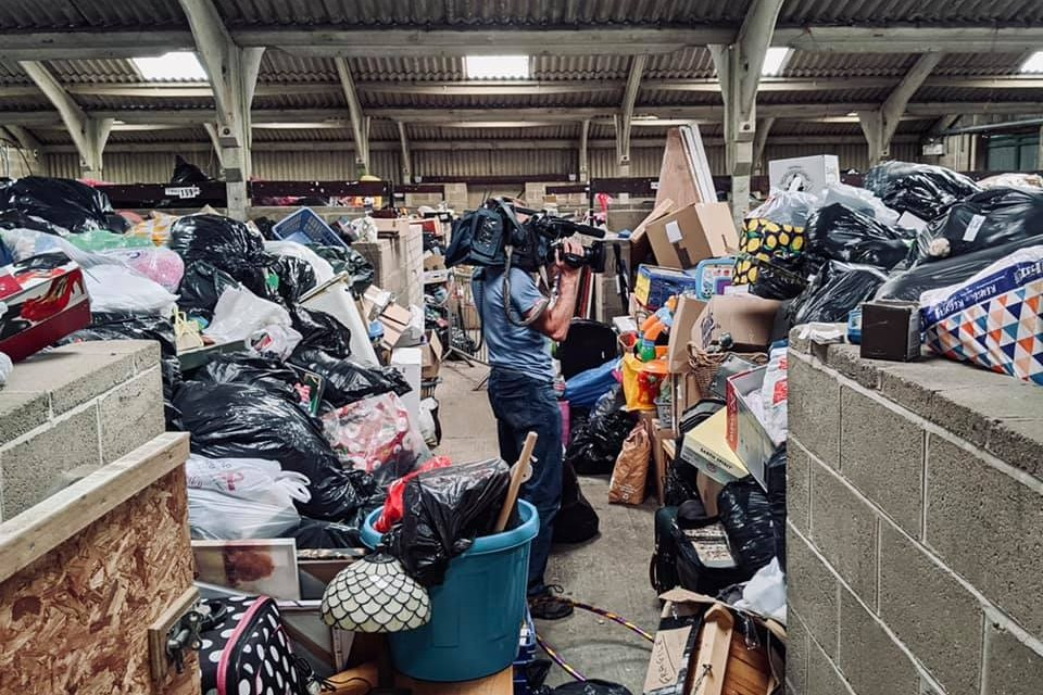 A cowshed full of donations for St Barnabas Hospice