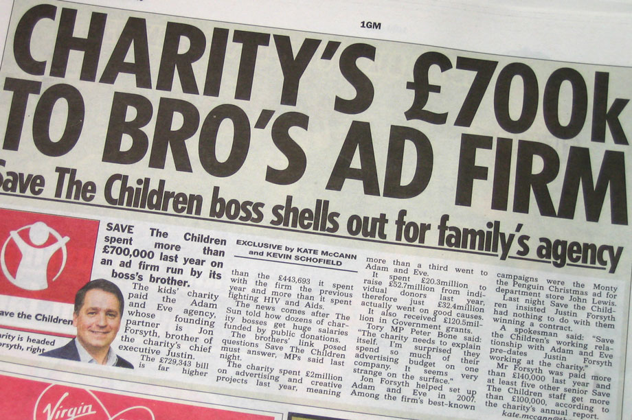 The Sun story about Save the Children