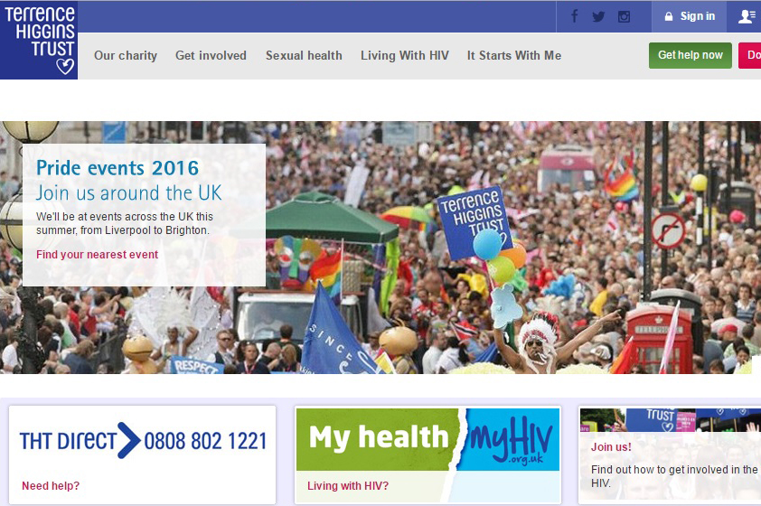 Terrence Higgins Trust website