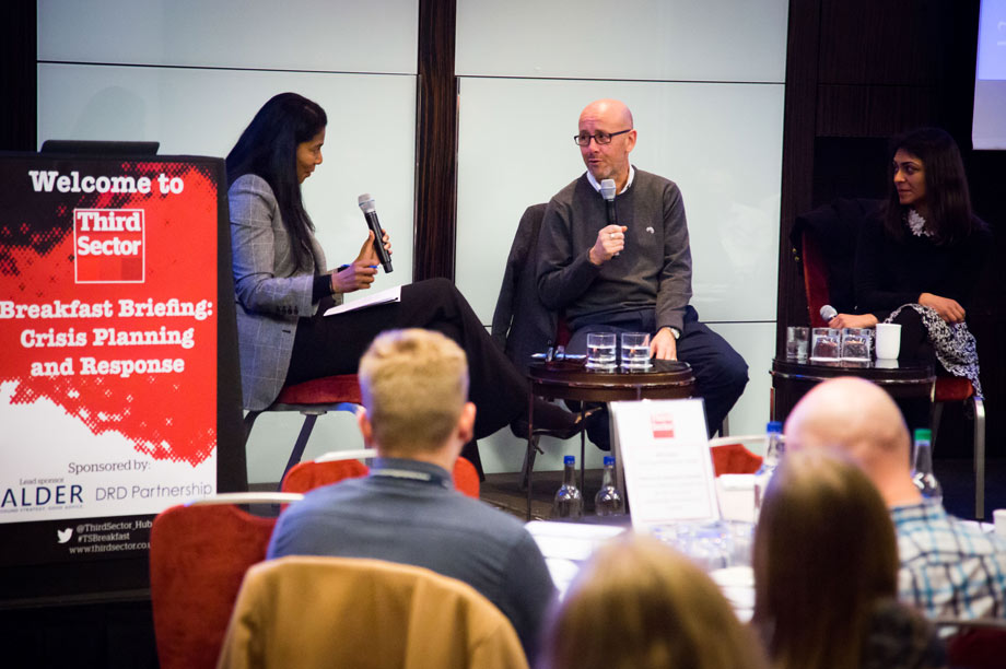 Sean O'Neill (centre) and Manveen Rana (right) with chair, the PR expert Judy Smith (left)