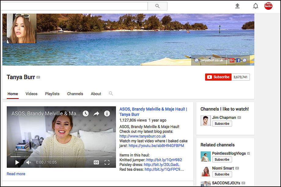 Tanya Burr has a huge YouTube following