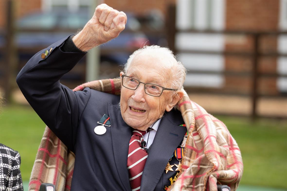 Captain Tom Moore: raised millions for NHS charities (Photograph: Emma Sohl – Capture the Light Photography via Getty Images)