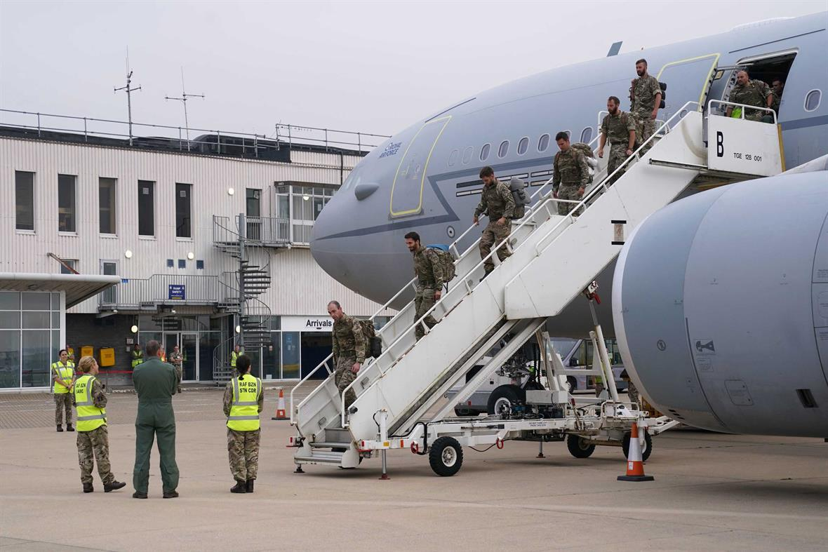 British troops return from Afghanistan (Photograph: Jonathan Brady/Pool/AFP via Getty Images)