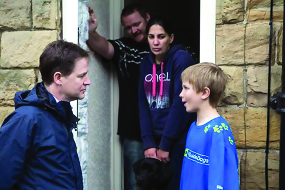 Former Lib Dem leader Nick Clegg meets Freddie, a 10-year-old volunteer for Guide Dogs