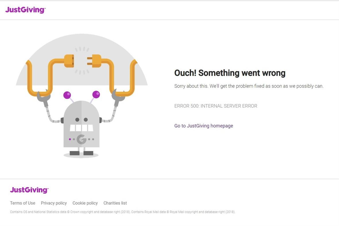 JustGiving's home page as things went wrong