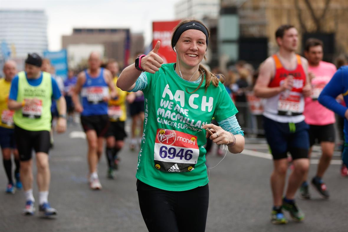 A Macmillan runner at the London Marathon (Photograph: Joel Ford/Getty Images)