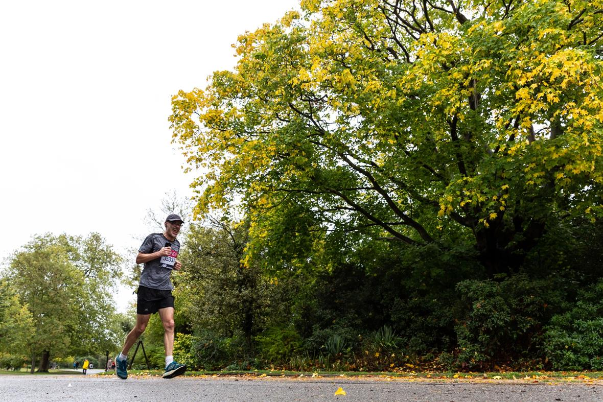 A 'virtual' London Marathon runner in Dulwich Park, south London (Photograph: Dominika Zarzycka/NurPhoto via Getty Images)